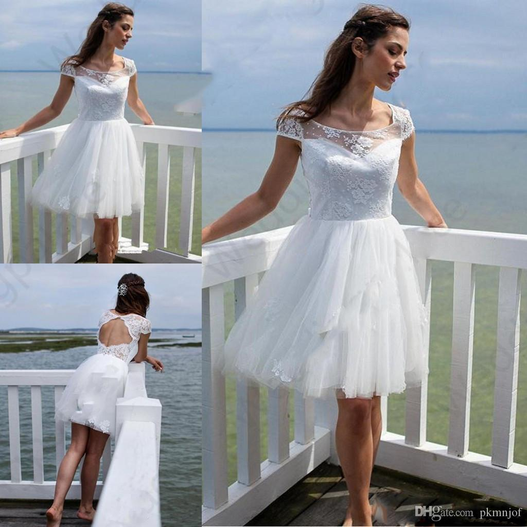 b4125028f13 Discount 2019 Short Beach Lace Wedding Dresses Newest Summer Scoop Neck A  Line Knee Length Tulle Bridal Gowns Chiffon Wedding Dress Dress Wedding  From ...