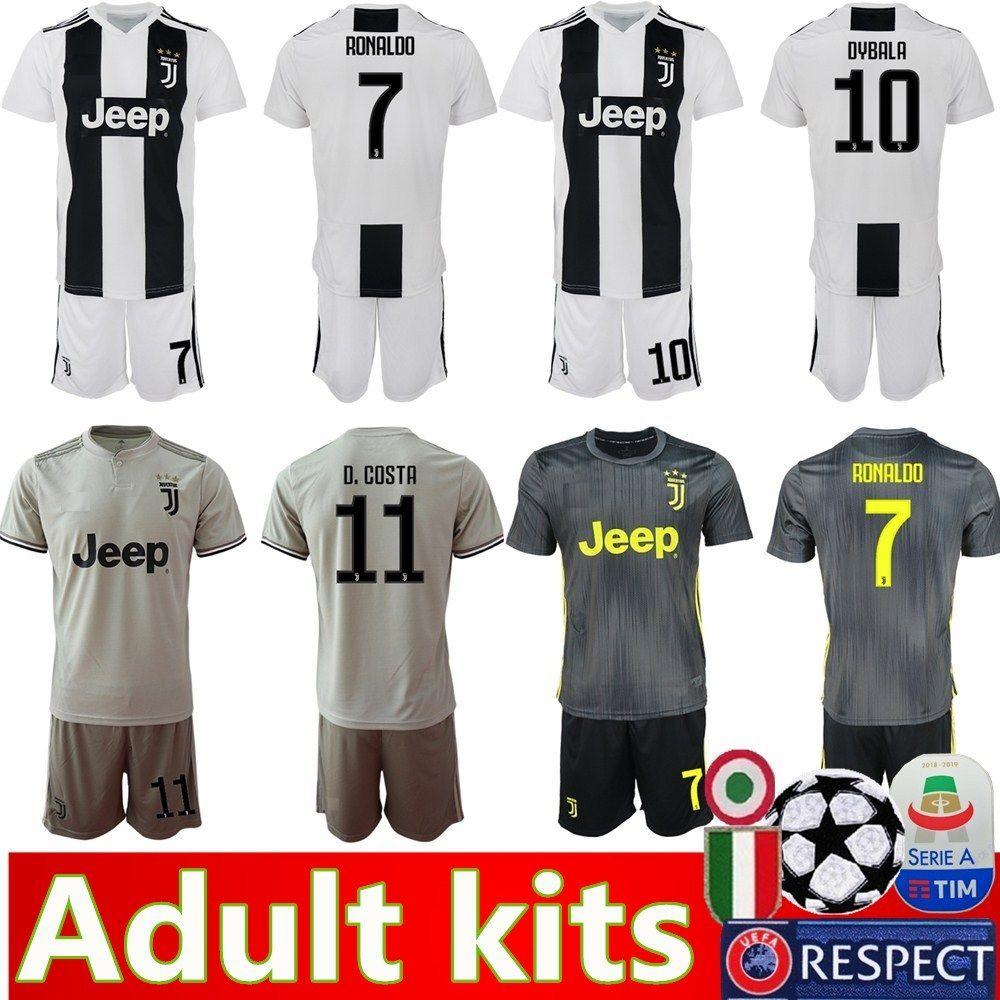 check out 25a08 7de06 18 19 New Adult Juventus Kits Soccer Jersey 2019 Juventus RONALDO MANDZUKIC  CHIELLINI MARCHISIO PJANIC D.COSTA DYBALA kits Football shirt