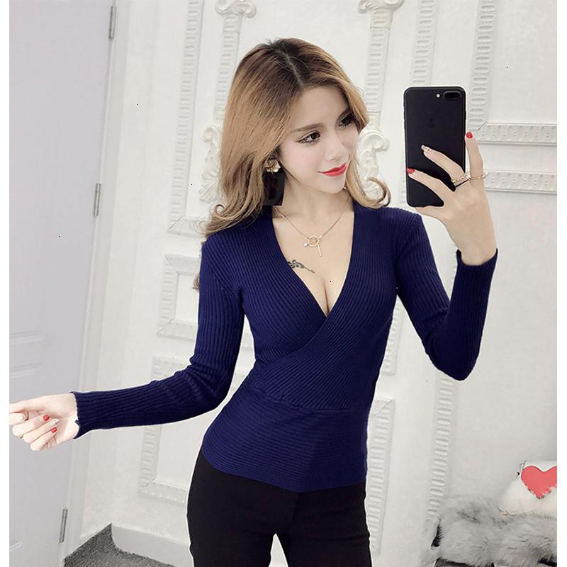 Women Sweaters Women Sweater Sexy Sweater Deep V Neck New Womens Pullover Casual Slim Bottoming Female Elastic Cotton Long Sleeve Tops
