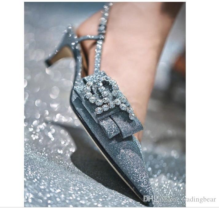 Metallic Blue Silver Glitter Rhinestone Bowtie Kitten Heels Bridal Wedding Shoes Designer Heels eu 34 to 41 tradingbear