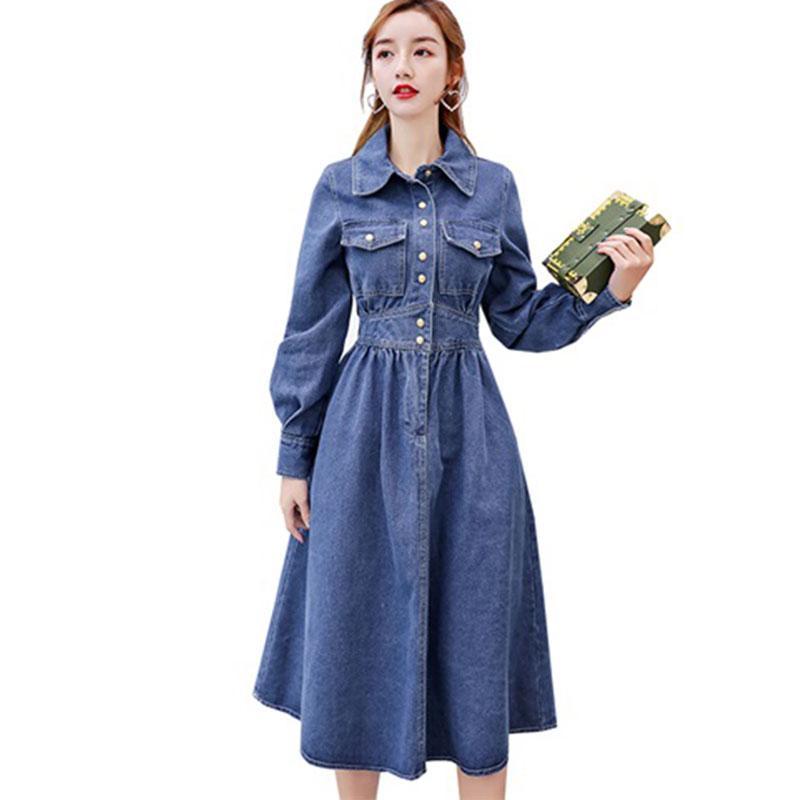 214a4b12dfdc5 Satın Al Yüksek Kaliteli Denim Elbise Kadın 2019 İlkbahar Sonbahar Yaka  Rahat A Line Kot Elbiseler Kadın Zarif Orta Uzun Bayan Elbise 887, $71.92 |  DHgate.