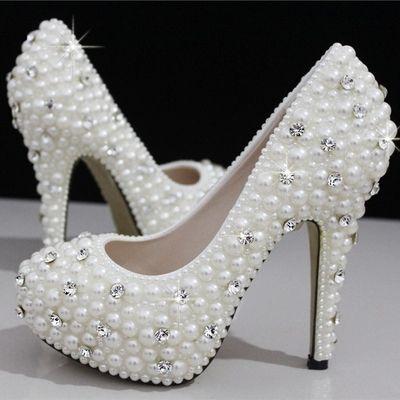 210cdd67009d White Rhinestone Wedding Shoes Fashion Silver High Heels Crystal ...