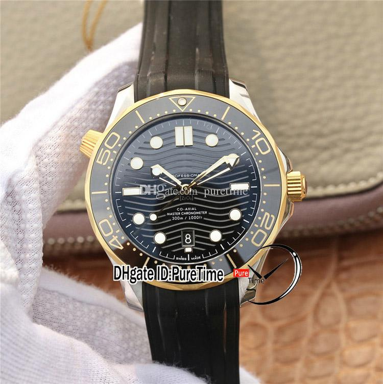 VSF V2 Diver 300M Meister Chronometer A8800 Automatik Herren-Uhr Two Tone Gelbgold Keramik-Lünette mit schwarzem Zifferblatt 210.22.42.20.01.001 Puretime 2