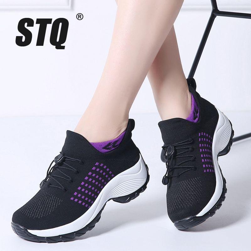 3b9c418c080 STQ 2019 Spring Women Flat Platform Sneakers for Women Breathable Mesh  Black Sneakers Shoes Ladies Laces for Sock 1855 Women's Flats Cheap Women's  Flats STQ ...
