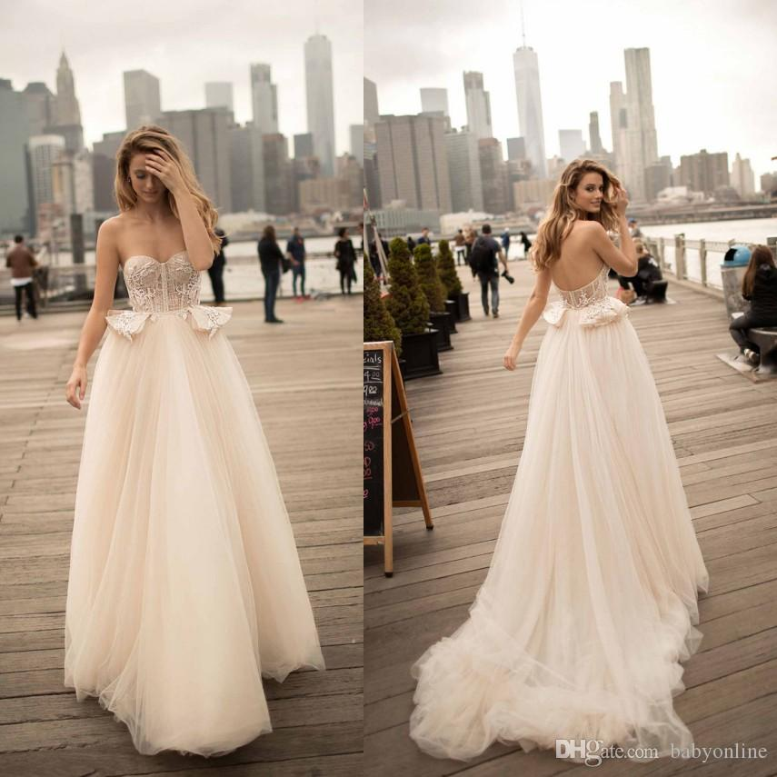 Discount Berta 2019 Sexy Backless A Line Wedding Dresses For Summer  Weddings Sweetheart Sweep Train Peplum Long Bridal Gowns Plus Size Tea Line  Wedding ... 42877aefcb81