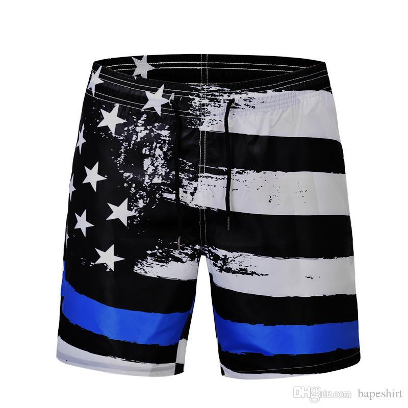 fd8cf23bc2 2019 Stars Flag Digital Print Swimming Trunks Summer Personality Fashion  Trend Beach Pants Loose Fat Pants Male From Bapeshirt, $20.31 | DHgate.Com