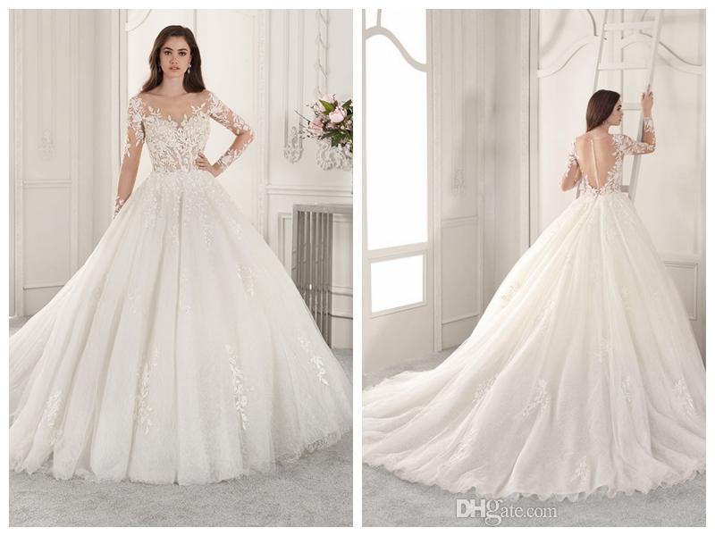 13dcbcbc8668 Discount 2019 Wedding Dresses Robe De Mariée Demetrios 875 Ivory Tulle Lace  A Line Sheer Bateau Buttons Applique Long Sleeve Wholesale Custom Made  Luxurious ...