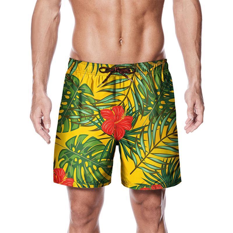 3eb48f7f32 Plant Print Swim Trunks Summer Surf Board Pants Men Swimwear Trunks ...