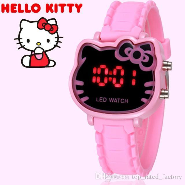 6905537b523f Compre 2019 Hello Kitty Relojes De Dibujos Animados Niños Niñas Relogios  Rosa Correa De Silicona Niños Led Reloj De Pulsera Digital Nina Reloj Nino  Relojes ...