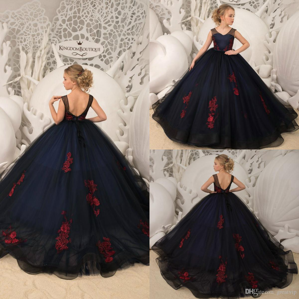 b2b5a55219a5 Navy Blue Flower Girl Dresses Red Appliques Backless Girls Pagenat Gowns  Plus Size Princess Toddlers Birthday Party Dress For Wedding Girls Dressy  Dresses ...