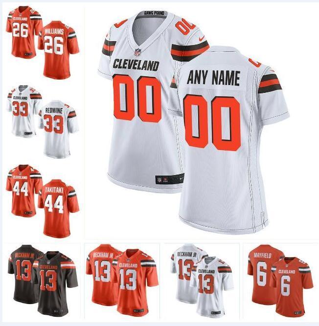watch 22e10 001fe Cleveland Odell Beckham Jr Browns Jersey Baker Mayfield Myles Garrett  Jarvis Landry Jim Brown custom american football jerseys Black 4xl