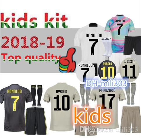 2019 18 19 Kids Kit Juventus RONALDO Home Soccer Jersey 2018 2019 Juve Best  Quality DYBALA MANDZUKIC Child Away Third Football Shirt Uniform From  Mili303 e4546b03c