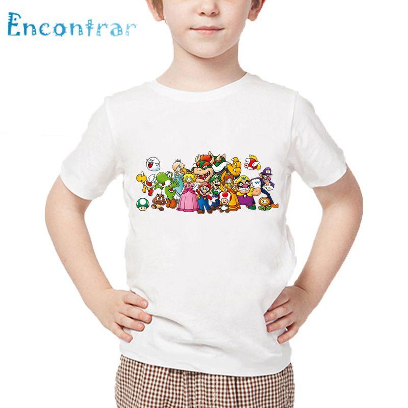 a38776eef Compre Niños El Super Mario Bros Camiseta De Dibujos Animados Bebés Niños  Niñas Manga Corta De Verano Tops Niños Ropa Divertida