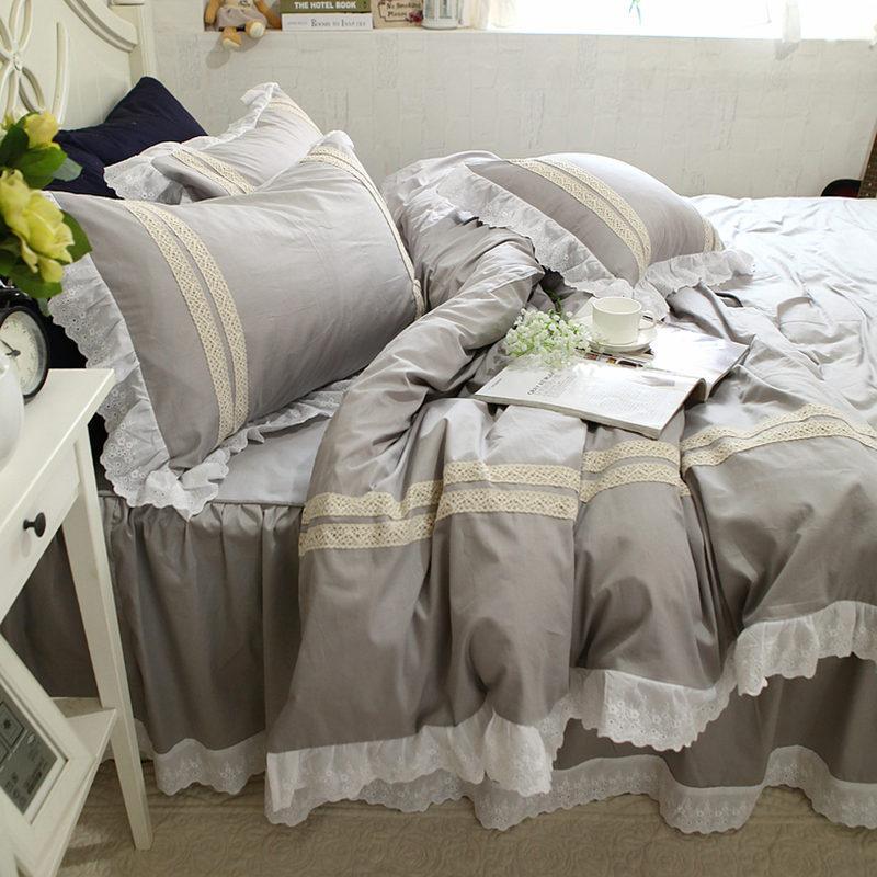 Großhandel Neue Graue Spitze Bettwäsche Set Spitze Rüschen Bettbezug