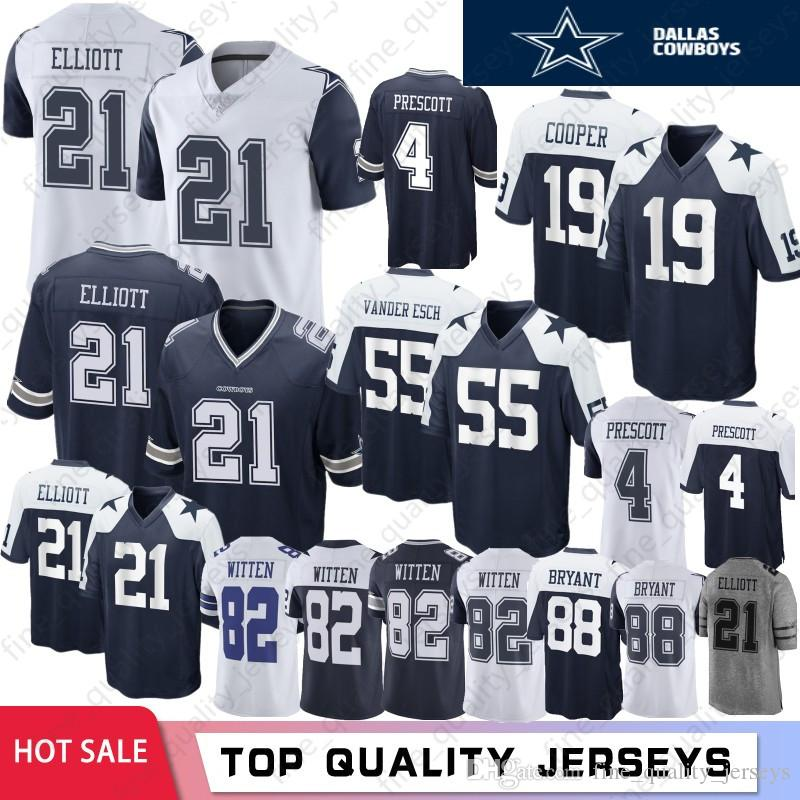 lowest price 74d35 e1a94 19 Amari Cooper Dallas Cowboys Jersey 4 21 Ezekiel Elliott 55 Leighton  Vander Esch 82 Jason Witte 88 Dez Bryant 2019 New