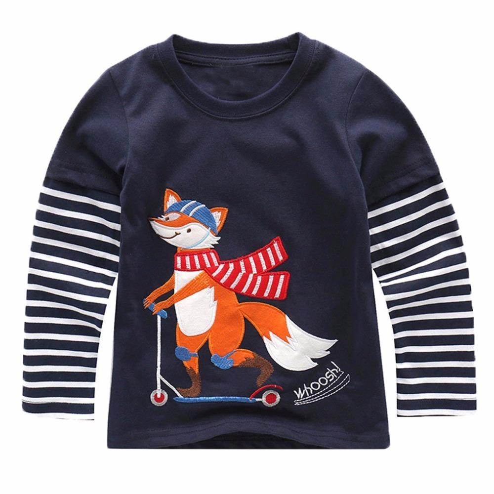 bd04d96f15 Baby Boy Sweatshirt with Animal Applique 2019 Brand Children Autumn Long  Sleeve Tops Boys Clothes Striped Kids T Shirts for Boy Online with   32.21 Piece on ...