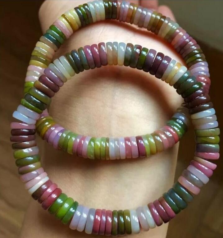 FREE SHIPPING 1pc Colorful natural bracelets disc beads across the pearl beads Bracelets