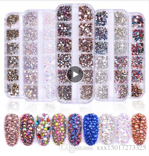 Multi Size Glass Nail Rhinestones Mixed Colors Flat-back AB Crystal Strass 3D Charm Gems DIY Manicure Nail Art Decorations