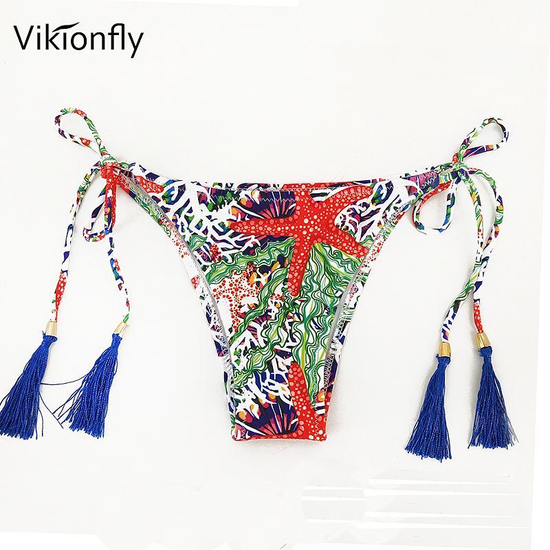 e0ad43b7c3d 2019 Vikionfly Sexy Brazilian Bikini Bottom Swim Briefs For Women Printed  Floral Tassels Micro Thong Swimsuit Swimwear From Finebeautyone, $40.74 |  DHgate.