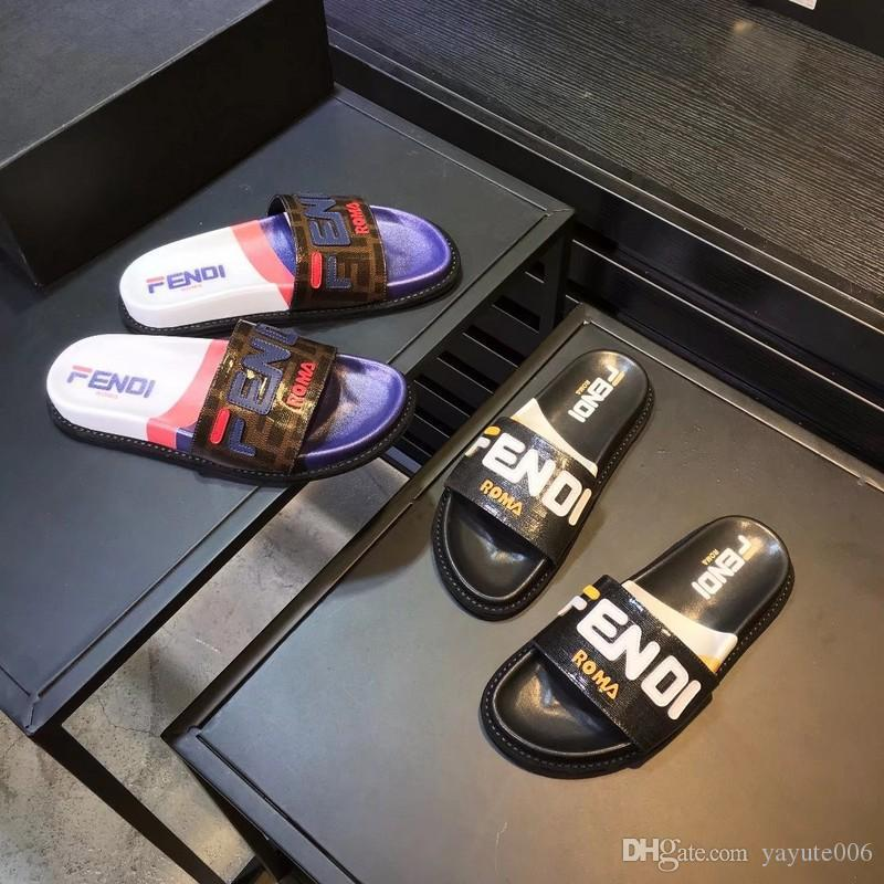 8b45481bbb46 19ss Designers Rubber Slide Sandal Floral Brocade Men Slipper Gear Bottoms  Flip Flops Women Striped Beach Causal Slipper With Box Slippers Rain Boots  From ...