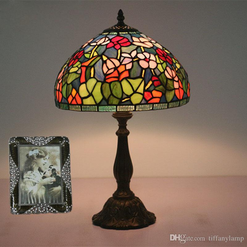 12 Inch New Luxury Table Lamps Bedroom Bedside Desk Lamp European Vintage Stained Glass Table Lamp For Bar Club Villa Desk Light