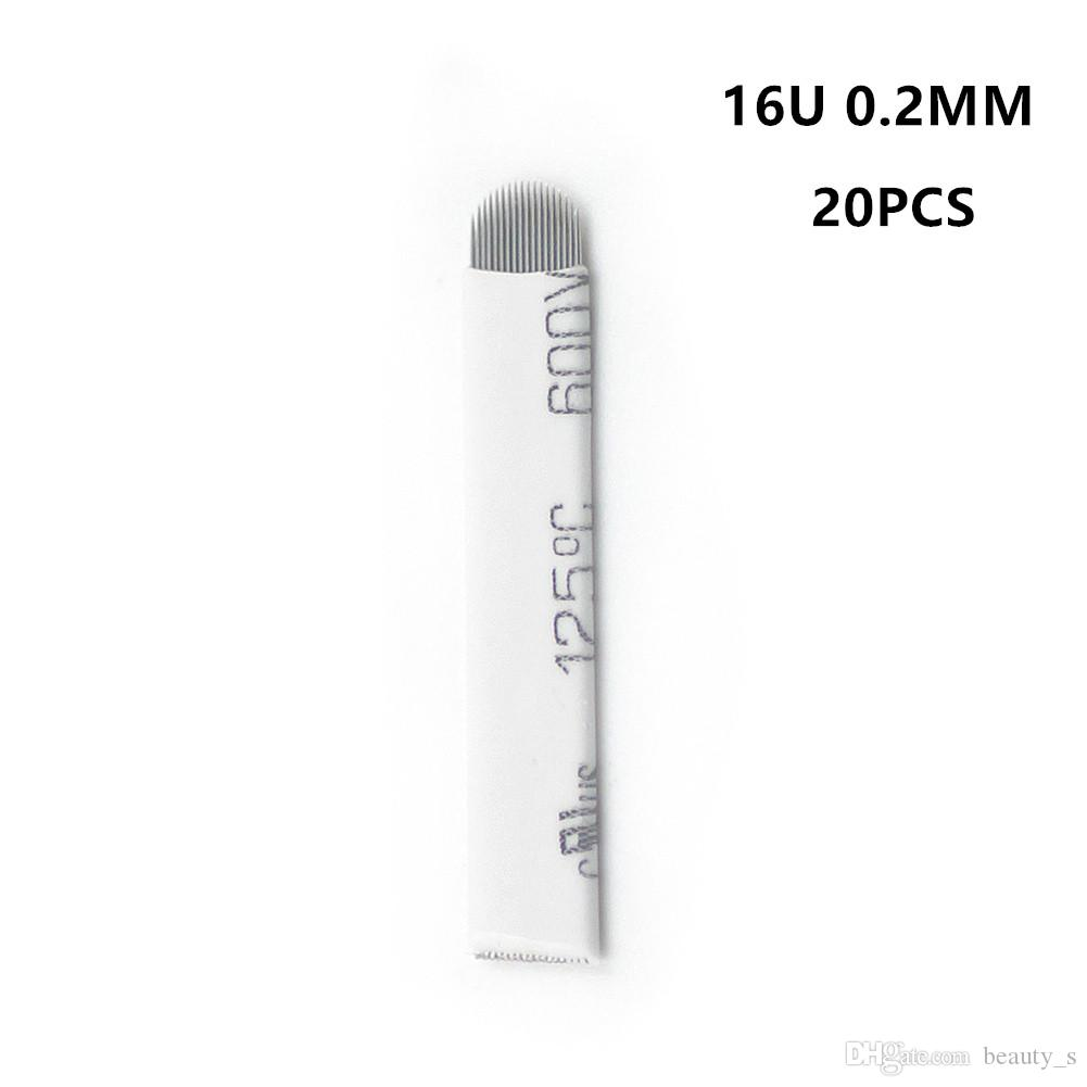 20 Pcs Lot 16u Microblading Aiguilles Maquillage Permanent Manuel Sourcil De Tatouage Stylo Lame Pour Machine De Tatouage Lames Aiguille Fournitures