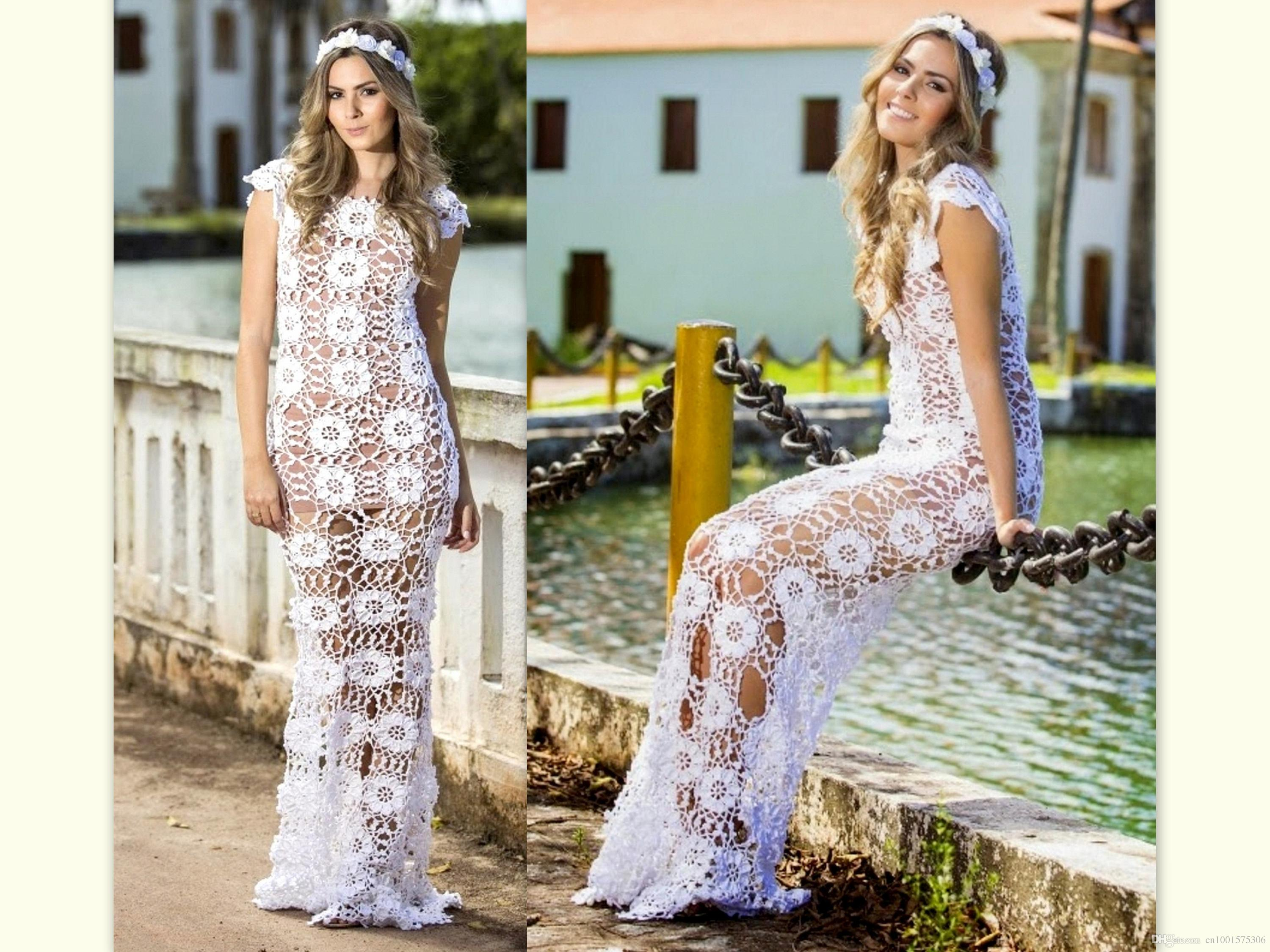 20425c516825 2019 Boho Bohemian Beach Wedding Dress White Macrame Bridal Gown A Line  Long Rustic Forest Fairy Wedding Destination Personalized Custom Dresses  From ...