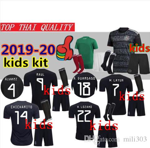 8cb97cd3581 2019 2019 Mexico Gold Cup Kids Kit Soccer Jersey Uniforms 18 19 20 Mexico  Black CHICHARITO H. LOZANO RAUL Youth Child Football Shirt Set From  Mili303