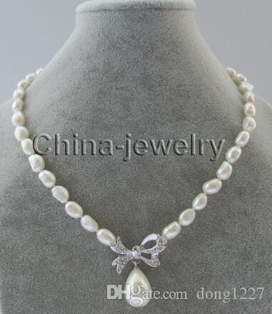 "Free Shipping 17 ""11mm white baroque freshwater pearl necklace + 16mm white pearl shell"
