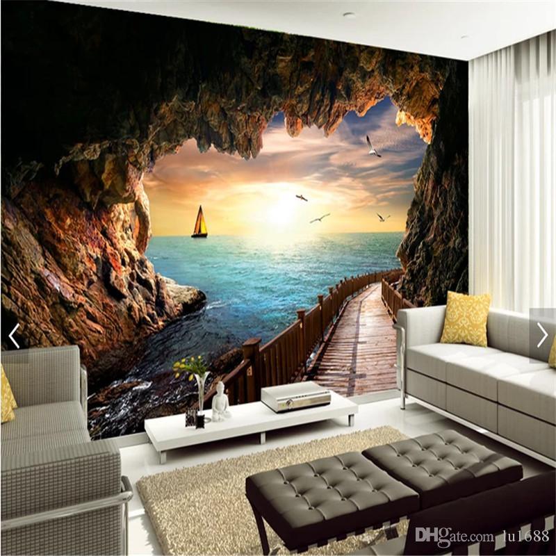Benutzerdefinierte 3d Fototapete Cave Seascape Schöner Sonnenuntergang  Landschaft Wandbild Tapeten für Wohnzimmer Schlafzimmer 3d Wand Papier Home  ...