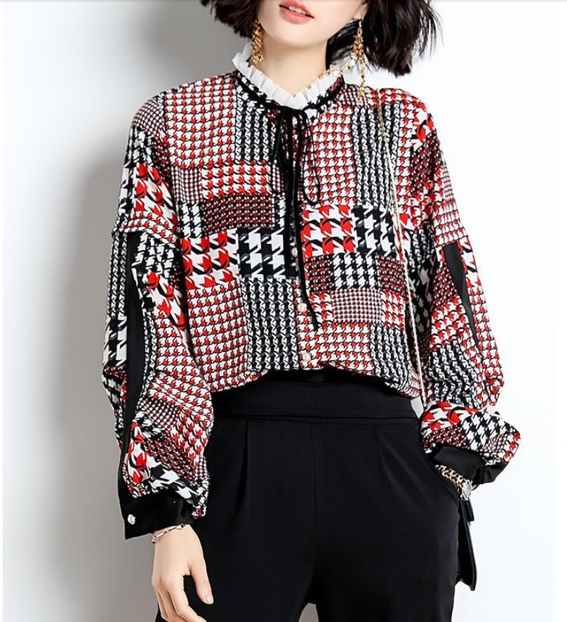 a9063517996c3d 2019 Peter Pan Collar Houndstooth Print Chiffon Shirt Women Loose Long  Sleeve Women Vintage Spring Elegant Blouses Tops From Balljoy, $125.32    DHgate.Com