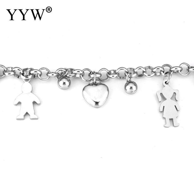 Valentinstag mode geschenk schöne junge mädchen charme anhänger edelstahl armband herz charme armband schmuck