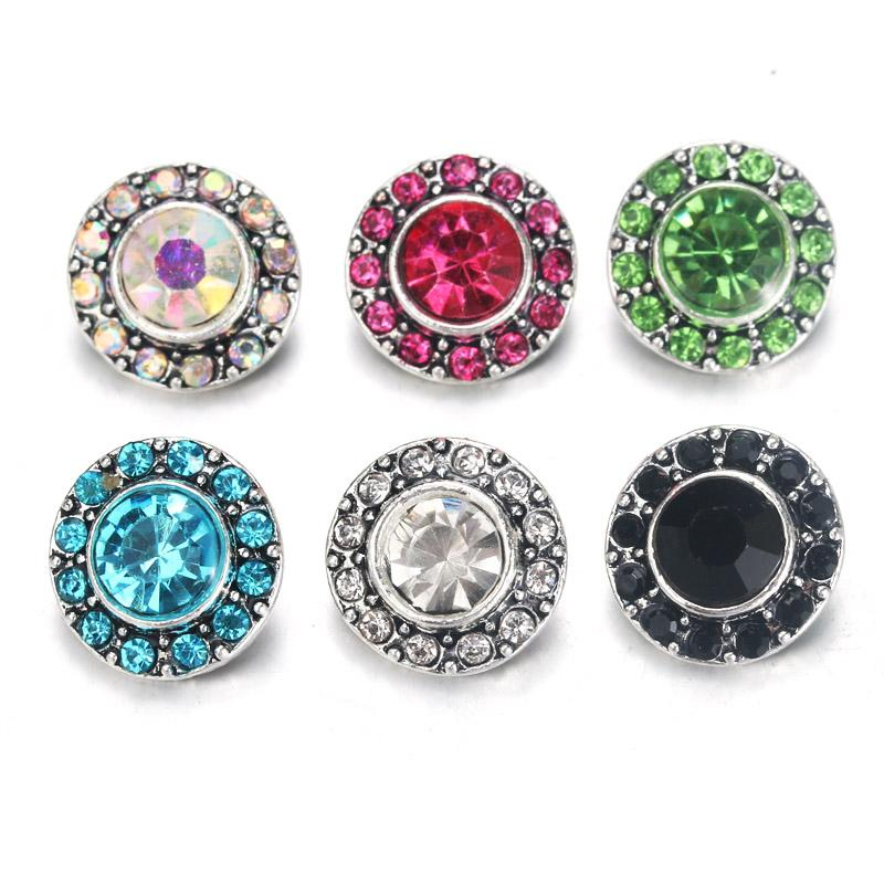 10pcs/lot 6 Color Flower Snap Jewelry Rhinestone Metal Snap Buttons Fit 12mm Sivler DIY Bracelets Jewelry 0019