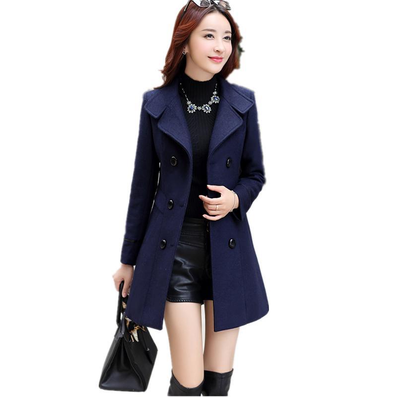 f1c752bc2 2019 New Women Autumn Winter Outerwear Wool Blend Warm Long Coat Slim Fit  Lapel Woolen Overcoat Cashmere Female Plus Size 1621