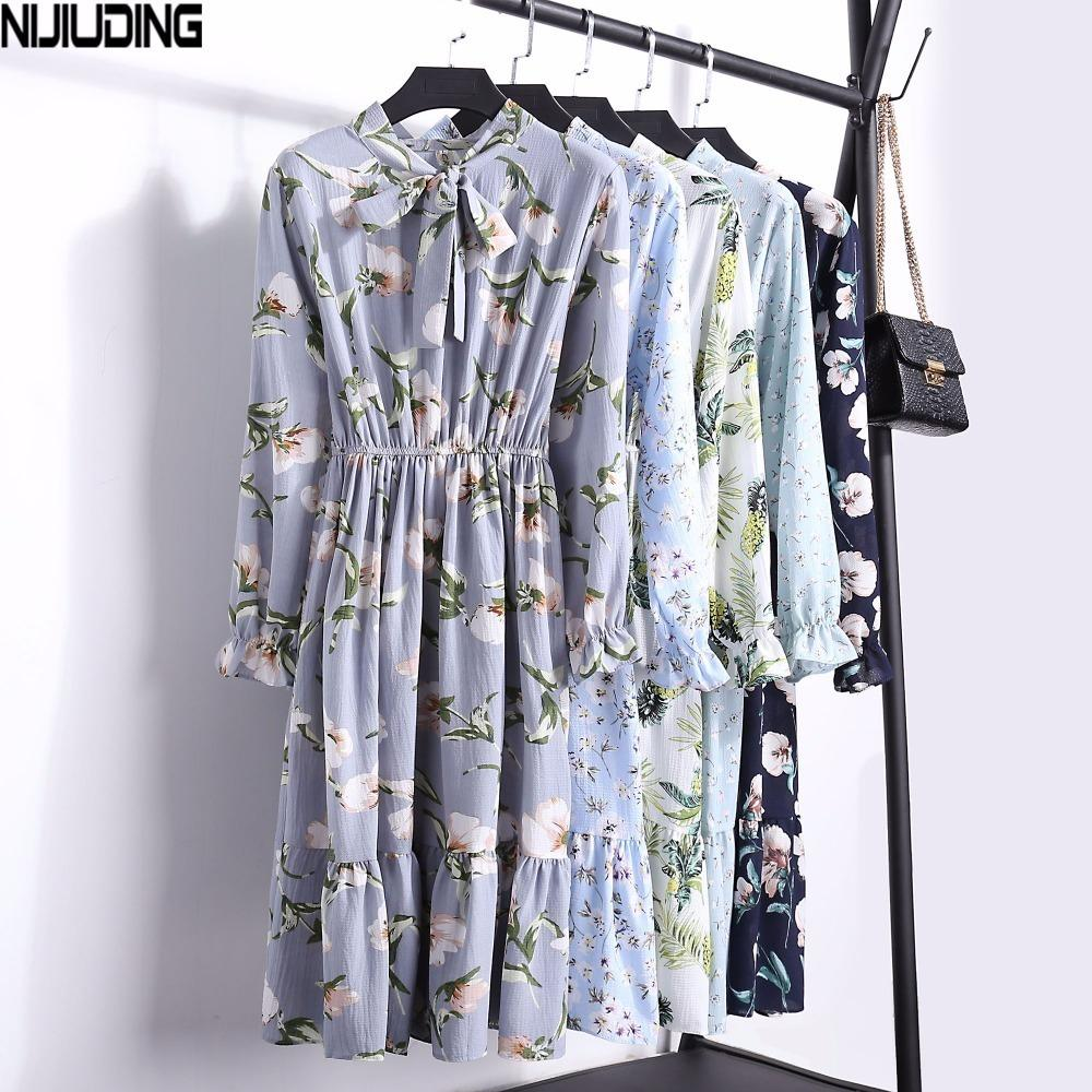 6ebecf34976df 2019 New Floral Chiffon Dress Female Spring Autumn Women Long Sleeve  Dresses Fashion Casual Print Bow High Elastic Waist Dress