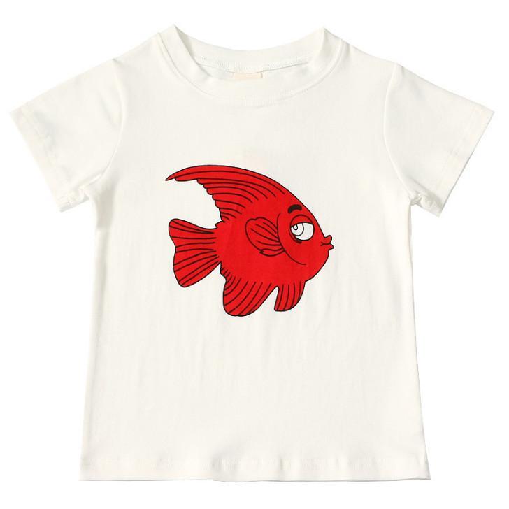 443a80c3f Compre Niños Camiseta De Dibujos Animados De Peces Tropicales Niños  Impresos Tops Casuales Cuello Redondo Camisetas De Manga Corta Verano Niños  Ropa De ...
