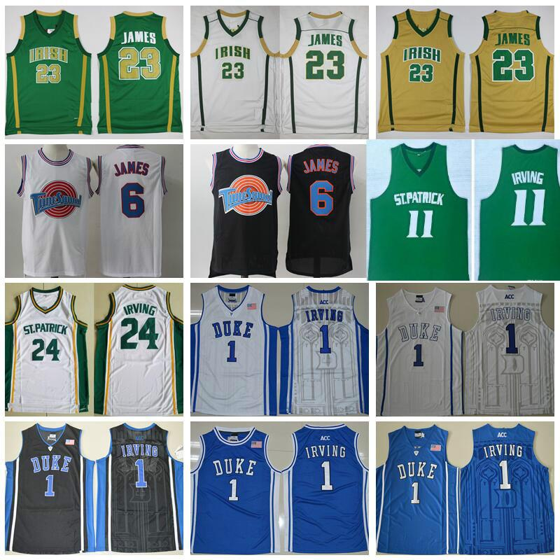 competitive price dfa62 d25d2 NCAA St Vincent Mary High School Irish 23 LeBron James Jersey College St.  Patrick Kyrie Irving Basketball Tune Squad Duke Blue Devils Jersey