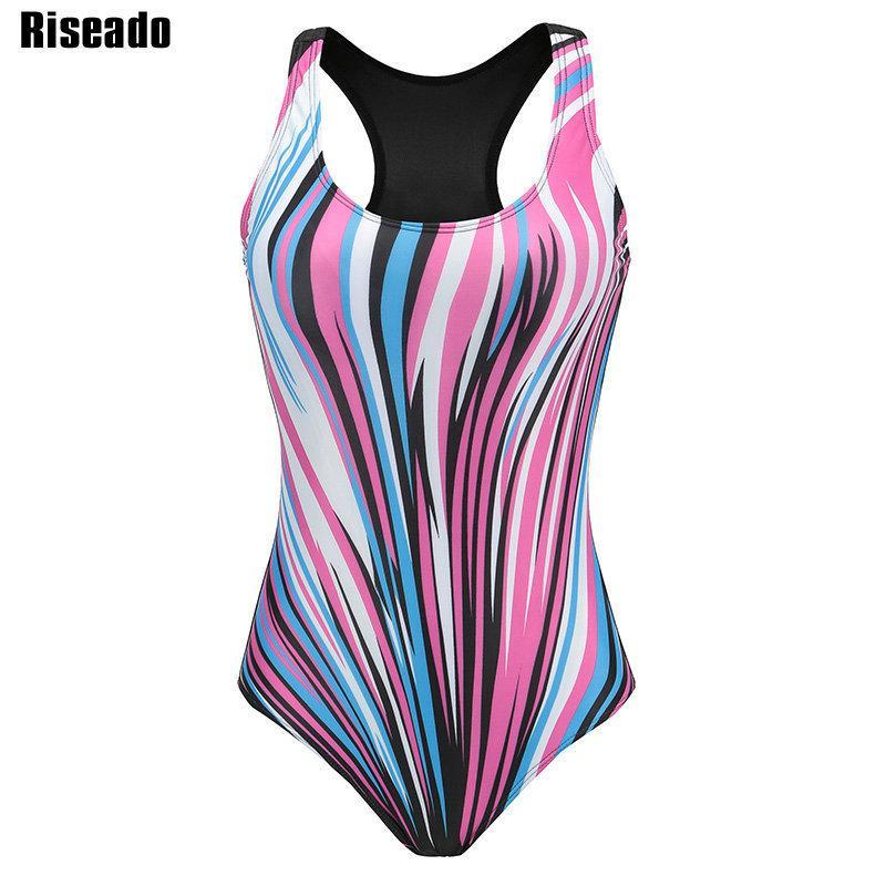 0ace4a27f8001 2019 Riseado Sport One Piece Swimsuit 2019 Competitive Swimwear Women  Digital Printing Racer Back Bathing Suits Plus Size Xxxl Y19042203 From  Shenyan01, ...