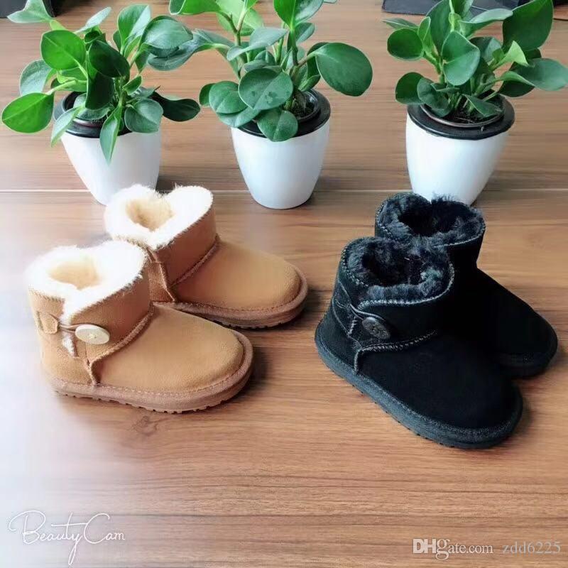 ugg boots EU21 35 Kinder Mädchen uuu Australien Schnee Stiefel Nette Bowtie Zurück Leder Wasserdichte Winter Kurze Stiefel Marke Ivg Fit Für 13,5