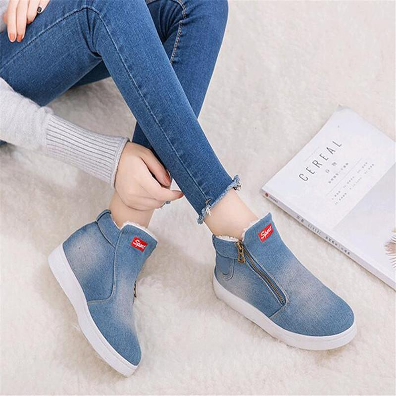 b370fcce19a Winter Shoes Women Denim Snow Boots Platform Warm Fleeces Classic High Top  Round Toe Flat Casual Shoes Sneakers Zapatos De Mujer Black Boots Boots  Pharmacy ...