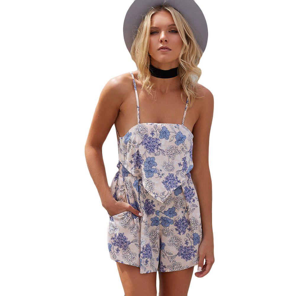 5425cb94e34 2019 Vintage Floral Print Rompers Womens Jumpsuit Spaghetti Strap Short  Jumpsuit Backless High Waist Short Boheme Playsuit Black Blue From  Jincaile02