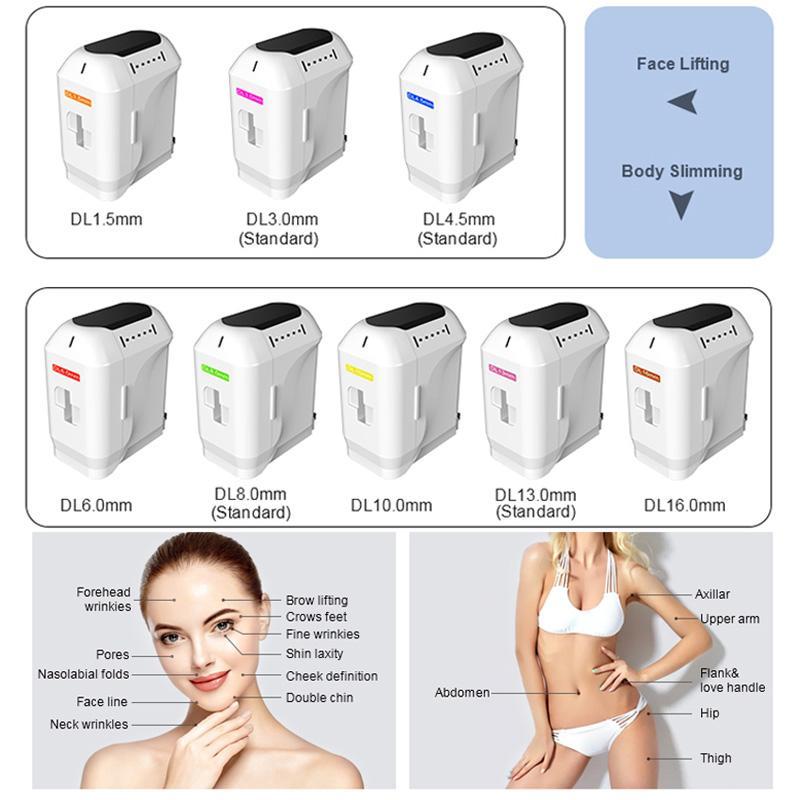 Portatile HIFU Face Sollevamento rughe Rimozione a grinza 3D HiFu Terapia Skin Stringing Attrezzatura il salone facciale ultrasuoni focalizzato ad alta intensità