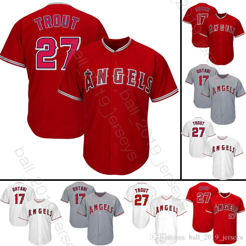 watch 49c8e f496c 17 Shohei Ohtani Ange jersey 27 Mike Trout baseball jerseys 2019 new men  hot Baseball Jerseys
