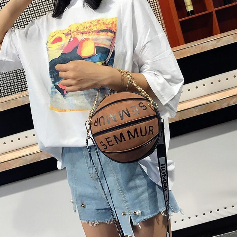 Designer-Luxury Handbags Women Bags Designer Round Purse Basketball Shape Shoulder Bags For Women 2019 Fashion Chains Crossbody Bags Sac