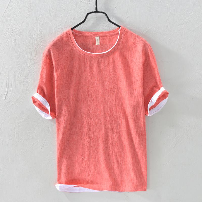 833e653304e9 Dropping 2019 New Brand Summer Mens T Shirt Solid Patchwork Short Sleeve  Cotton Linen Top Tees Casual O Neck T Shirt Men Fashion T Shirt Shirt  Designs T ...