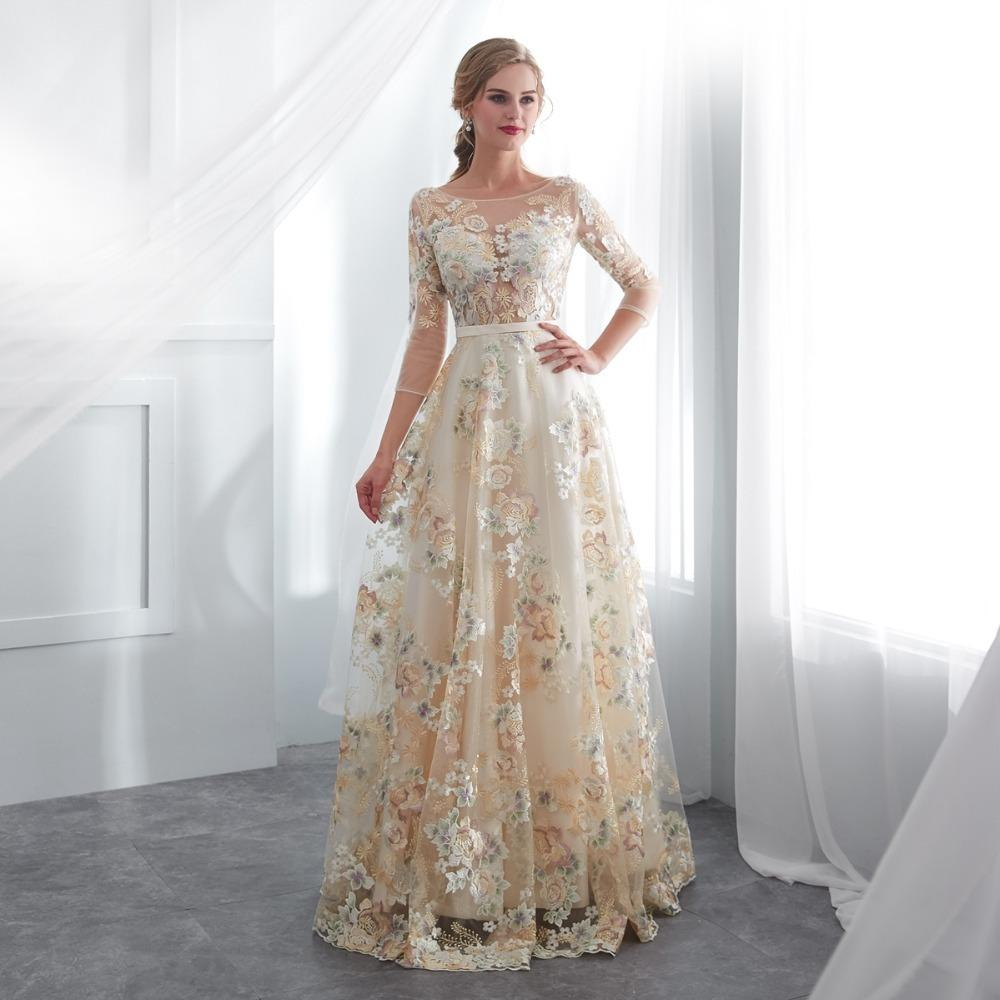 acb2484da7429 Floral Prom Dresses Walk Beside You Lace 3/4 Sleeves A-line Champagne Belt  Empire Waist Long Evening Gowns Vestido De Formatura Y19042701