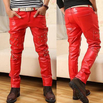 44f88cae36 Pantalone da uomo in pelle color rosso punk con pantaloni in pelle