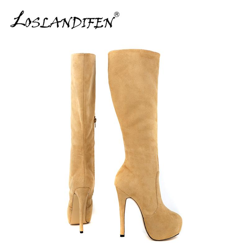 def59f65a45 LOSLANDIFEN Fashion Women Winter Knee High Boots Flock Round Toe Platform Mid  Calf Knee Wide Leg Boots Women Shoes 819 6VE Football Boots Womens Boots  From ...