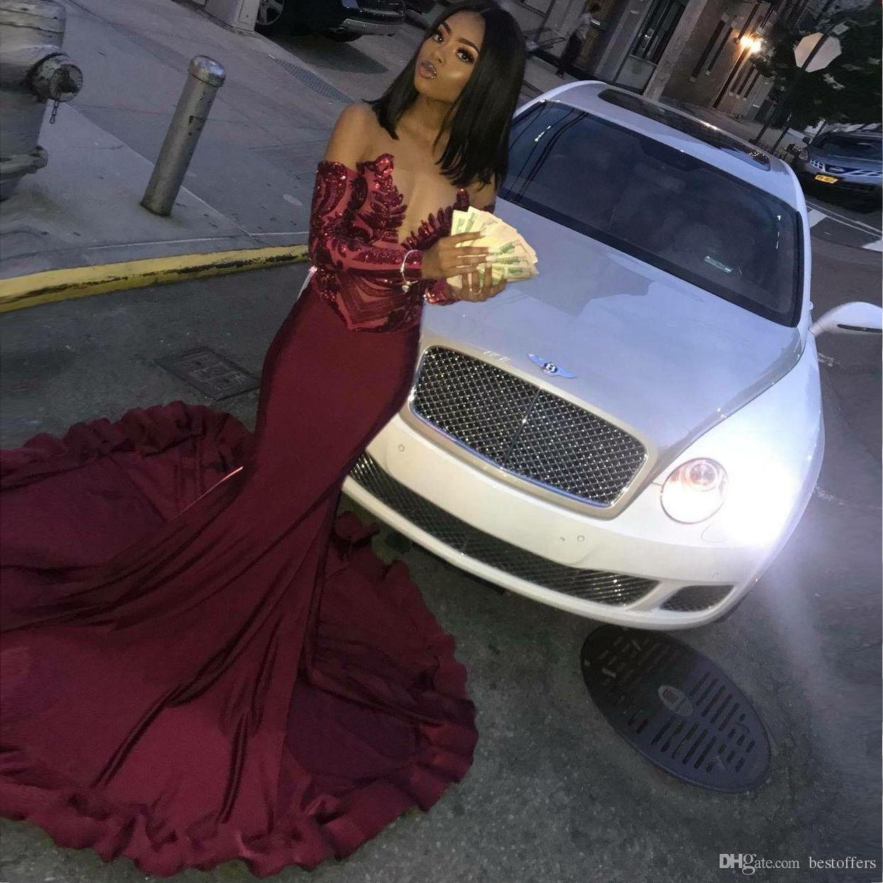 African Burgundy Mermaid Prom Dresses 2019 Sparkly Long Sleeves Lace Formal Evening Party Dresses robe de soiree