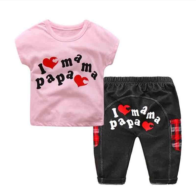 9620e846bf68 Good Quality 2019 Summer New Baby Boys Girl Clothing Sets Newborn Cute  Letter Cotton Short Sleeve T Shirt+Stitching Pants Suits UK 2019 From  Cynthia03